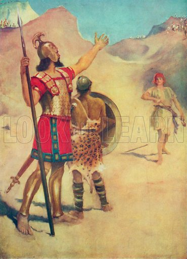 David and Goliath. Illustration for The Bible Picture Book.