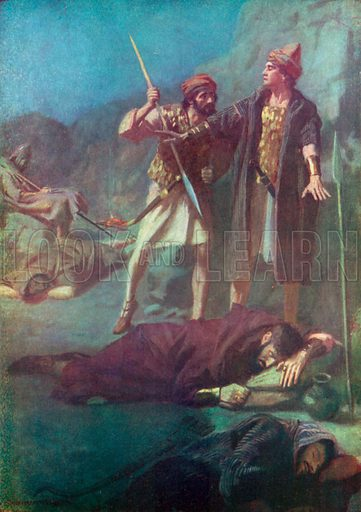 David Sparing Saul. Illustration for The Bible Picture Book.