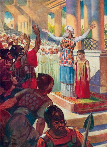 The Boy Joash crowned King. Illustration for The Bible Picture Book.