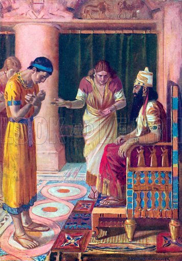 Daniel in the King's Court. Illustration for The Bible Picture Book.