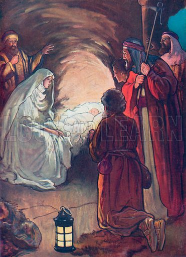 The Infant Jesus and the Shepherds. Illustration for The Bible Picture Book.