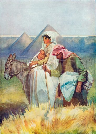 The Flight into Egypt. Illustration for The Bible Picture Book.