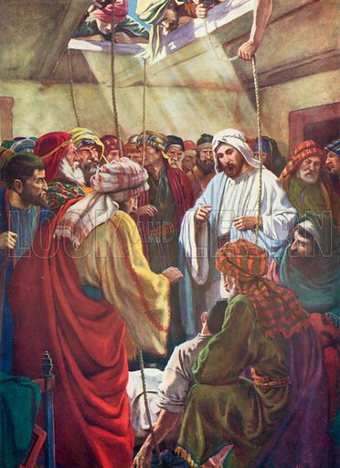 The Man with the Four Friends. Illustration for The Bible Picture Book.