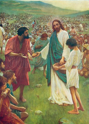 The Feeding of the Five Thousand. Illustration for The Bible Picture Book.