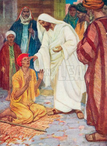 Jesus gives Sight to the Blind. Illustration for The Bible Picture Book.