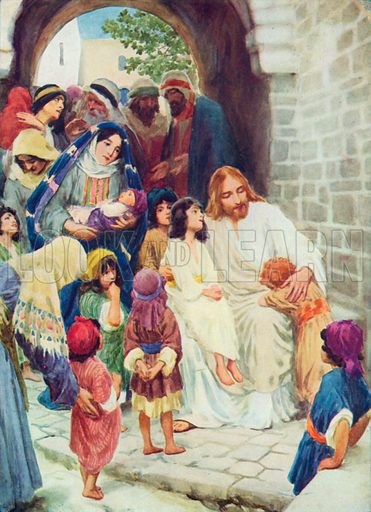 Jesus and the Children. Illustration for The Bible Picture Book.