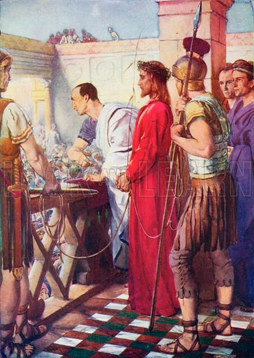 Jesus before Pilate. Illustration for The Bible Picture Book.