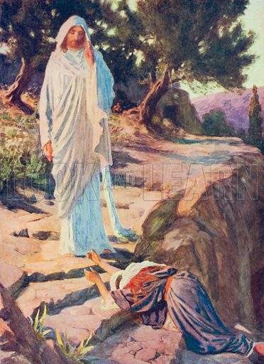 The Lord appears to Mary. Illustration for The Bible Picture Book.