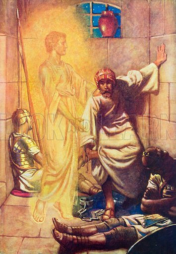 Peter delivered from Prison. Illustration for The Bible Picture Book.