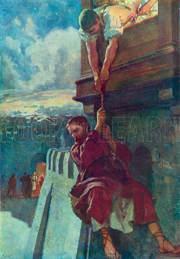 Paul's Escape from Damascus. Illustration for The Bible Picture Book.
