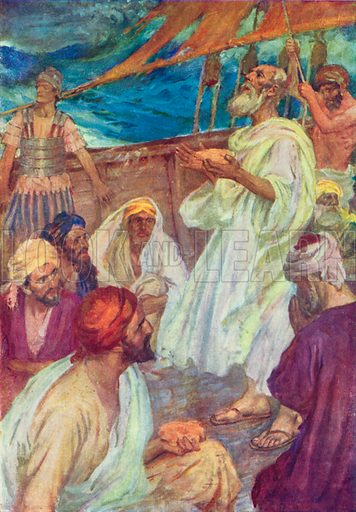 Paul's Voyage to Rome. Illustration for The Bible Picture Book.