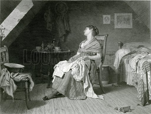 Weary.  Illustration from Modern Art, Second Series edited by James Dafforne (Virtue, c 1880).
