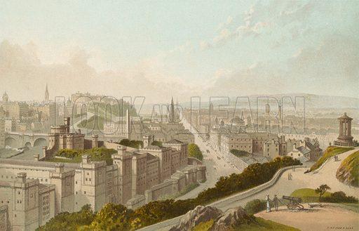 Edinburgh from the Calton Hill. Illustration for Souvenir of Scotland (Nelson, 1889).