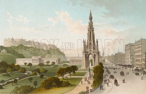 Princes Street Edinburgh. Looking West. Illustration for Souvenir of Scotland (Nelson, 1889).