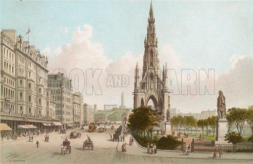 Sir Walter Scott's Monument and Princes Street, Edinburgh. Illustration for Souvenir of Scotland (Nelson, 1889).