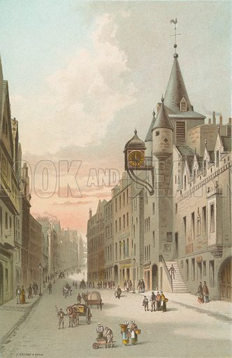 Old Tolbooth and Canongate - Edinburgh. Illustration for Souvenir of Scotland (Nelson, 1889).