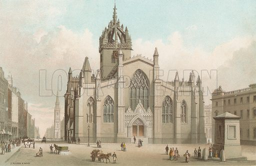 St Giles' Cathedral and High Street - Edinburgh. Illustration for Souvenir of Scotland (Nelson, 1889).