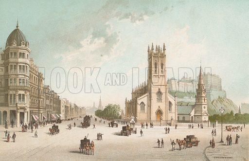 Princes Street Edinburgh – West End. Illustration for Souvenir of Scotland (Nelson, 1889).