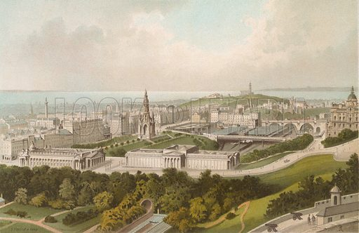 New Town Edinburgh. Illustration for Souvenir of Scotland (Nelson, 1889).