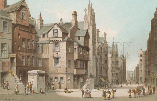 John Knox's House and Canongate – Edinburgh. Illustration for Souvenir of Scotland (Nelson, 1889).