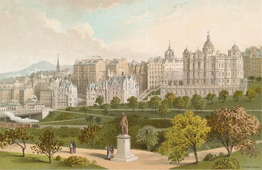 Old Town Edinburgh from Princes Street Gardens. Illustration for Souvenir of Scotland (Nelson, 1889).
