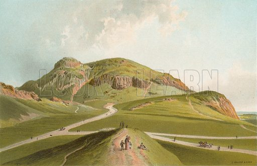 Arthur's Seat from St Leonards. Illustration for Souvenir of Scotland (Nelson, 1889).