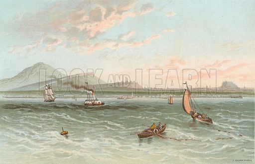 Edinburgh from the Firth of Forth. Illustration for Souvenir of Scotland (Nelson, 1889).