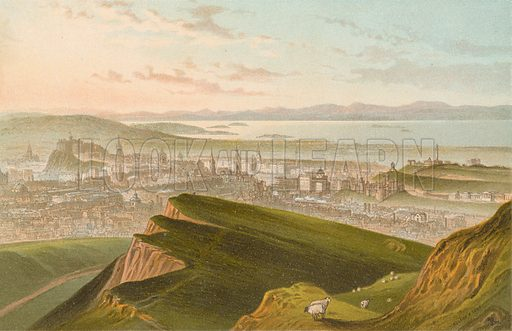 Edinburgh from Arthur's Seat. Illustration for Souvenir of Scotland (Nelson, 1889).
