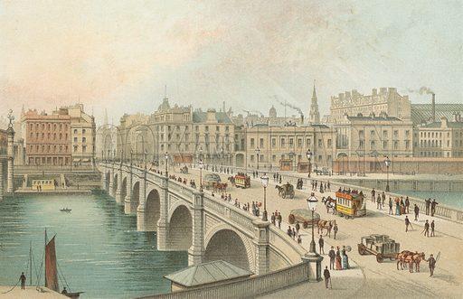 The Broomielaw Bridge – Glasgow. Illustration for Souvenir of Scotland (Nelson, 1889).