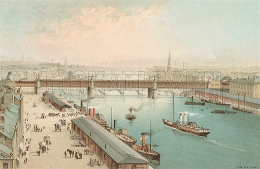 The Broomielaw, Glasgow – Looking East. Illustration for Souvenir of Scotland (Nelson, 1889).