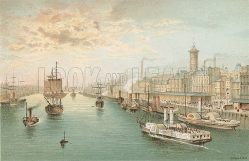 The Broomielaw, Glasgow - Looking West. Illustration for Souvenir of Scotland (Nelson, 1889).