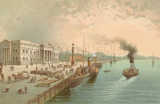 Custom House Quay, Greenock. Illustration for Souvenir of Scotland (Nelson, 1889).