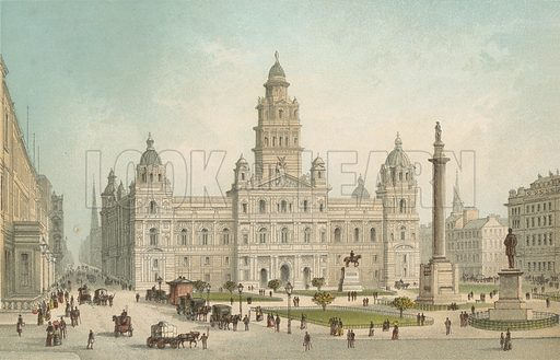 The New Municipal Buildings, George Square – Glasgow. Illustration for Souvenir of Scotland (Nelson, 1889).