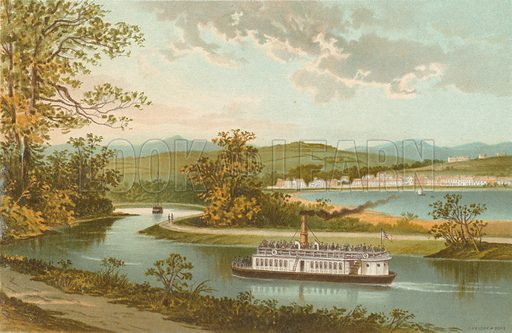 Crinan Canal at Lochgilphead. Illustration for Souvenir of Scotland (Nelson, 1889).