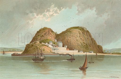 Dumbarton Castle. Illustration for Souvenir of Scotland (Nelson, 1889).
