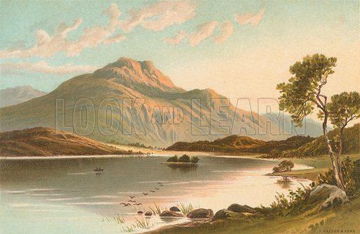 Loch Achray. Illustration for Souvenir of Scotland (Nelson, 1889).