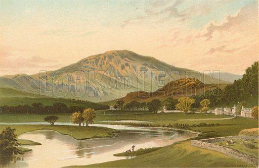 Ben Ledi from Callander Bridge. Illustration for Souvenir of Scotland (Nelson, 1889).