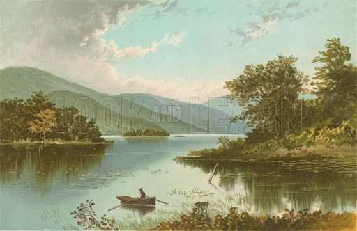 Luss Straits – Loch Lomond. Illustration for Souvenir of Scotland (Nelson, 1889).