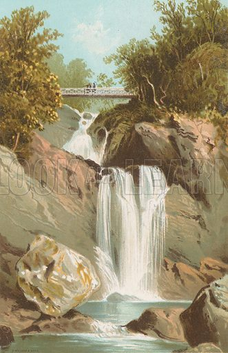 Waterfall at Inversnaid - Loch Lomond. Illustration for Souvenir of Scotland (Nelson, 1889).