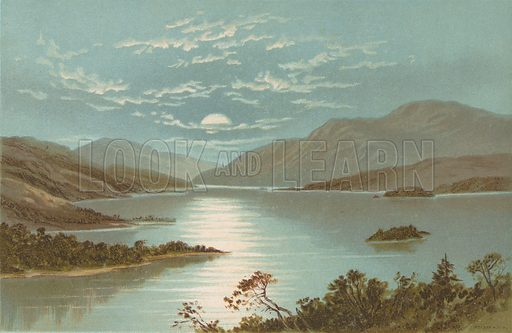 Upper End - Loch Lomond. Illustration for Souvenir of Scotland (Nelson, 1889).