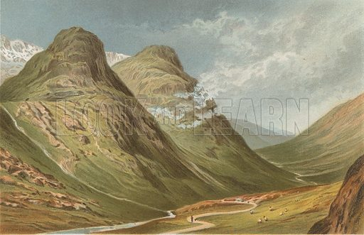 The Pass of Glencoe. Illustration for Souvenir of Scotland (Nelson, 1889).