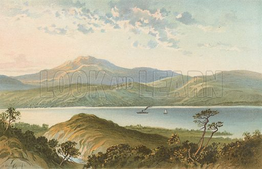 Loch Ness, from above the Fall of Foyers. Illustration for Souvenir of Scotland (Nelson, 1889).