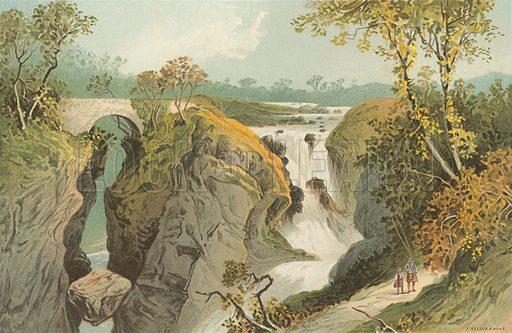 Rumbling Bridge & Falls of the Braan – Near Dunkeld. Illustration for Souvenir of Scotland (Nelson, 1889).