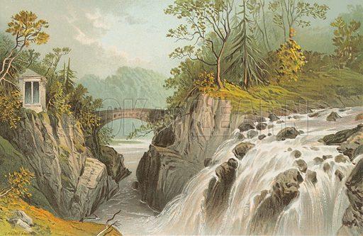 The Hermitage & Falls of the Bruar – Near Dunkeld. Illustration for Souvenir of Scotland (Nelson, 1889).