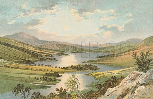 Loch Tummel - The Queen's View. Illustration for Souvenir of Scotland (Nelson, 1889).