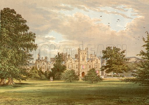 Preston Hall. Illustration for Pictureque Views of Seats by F O Morris (William Mackenzie, c 1880).