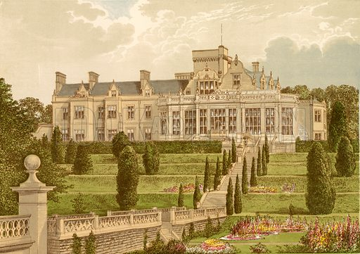 Easton Hall. Illustration for Pictureque Views of Seats by FO Morris (William Mackenzie, c 1880).