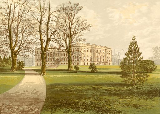Kimbolton Castle. Illustration for Pictureque Views of Seats by F O Morris (William Mackenzie, c 1880).