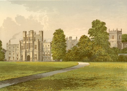 Coughton Court. Illustration for Pictureque Views of Seats by FO Morris (William Mackenzie, c 1880).