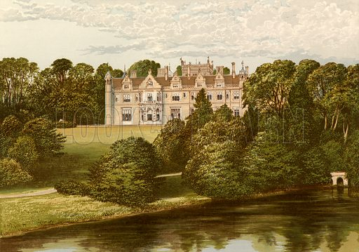 Keele Hall. Illustration for Pictureque Views of Seats by FO Morris (William Mackenzie, c 1880).